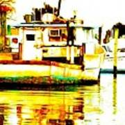 Chincoteague Boat Reflections Poster