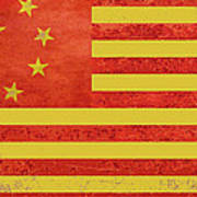 Chinese American Flag Poster