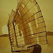 Chinese Junk Boat Poster