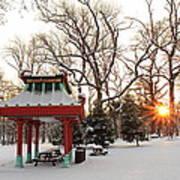 Chinese Pavilion Winter Sunrise Poster