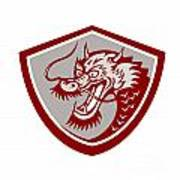 Chinese Red Dragon Head Shield Poster
