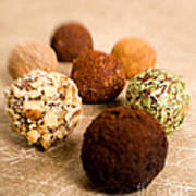 Chocolate Truffles On Gold Poster