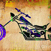 Chopper Motorcycle Painting Poster
