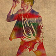 Chris Martin Coldplay Watercolor Portrait On Worn Distressed Canvas Poster