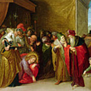 Christ And The Woman Taken In Adultery Poster
