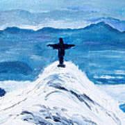 Christ Statue In Rio In Blue Poster