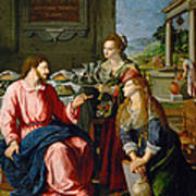 Christ With Mary And Martha Poster