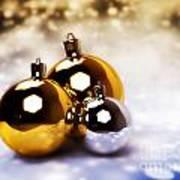 Christmas Balls Gold Silver Poster