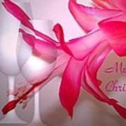 Christmas Cactus And Two Glasses - Merry Christmas Poster