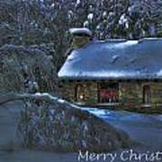 Christmas Card Moonlight On Stone House Poster