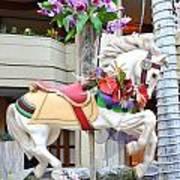 Christmas Carousel White Horse Poster