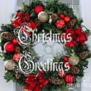 Christmas Greetings Door Wreath Poster