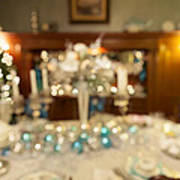 Christmas Holiday Dinner Table Decoration Blurred Poster