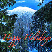 Christmas Holidays Scenic Snow Covered Mountains Looking Through The Trees  Poster