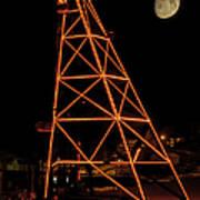 Christmas Moon Over Butte Headframe Poster