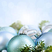 Christmas Ornaments On Blue Poster