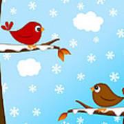 Christmas Red Cardinal Bird Pair Winter Scene Poster