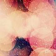 Christmas Snowing Blizzard Bokeh Background Poster