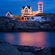 Christmas Time At Nubble Light. Poster by Jeff Sinon