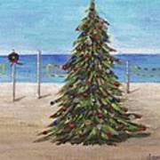 Christmas Tree At The Beach Poster