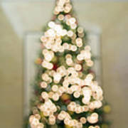 Christmas Tree Defocused With Bokeh Lights Poster