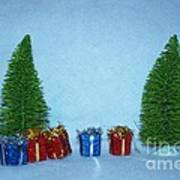 Christmas Trees With Red And Blue Presents Poster