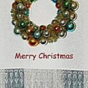 Christmas Wreath And Vintage Bulbs Poster