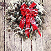 Christmas Wreath On Barn Door Poster