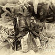 Christmasgift Under The Tree In Sepia Poster