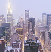 Chrysler Building And Skyscrapers Covered In Snow - New York City Poster
