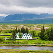 Church And Buildings National Park Pingvellir Iceland Poster