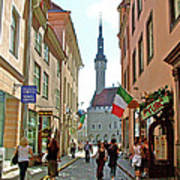 Church At End Of Street In Old Town Tallinn-estonia Poster