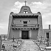 Church At San Ildefonso - Bw Poster