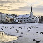 Church By Tjornin Pond Poster