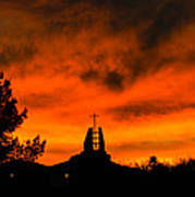 Church Cross Lit By Tucson Sunset Poster