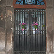Church Doors And Flowers Poster
