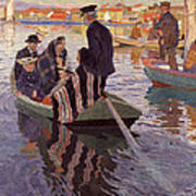 Church-goers In A Boat Poster