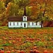 Church In A Pumpkin Patch Poster