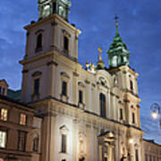 Church Of The Holy Cross At Night In Warsaw Poster