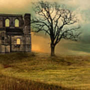Church Ruin With Stormy Skies Poster
