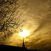 Church Steeple Clouds Parting Poster