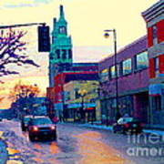 Church Street In Winter Melting Snow Sunset Reflections Montreal Urban City Landscape Scene Cspandau Poster