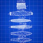 Cigar Patent 1887 - Blue Poster