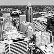 Cincinnati Aerial Skyline Black And White Picture Poster