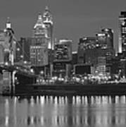 Cincinnati Black And White Night Poster