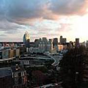Cincinnati Skyline At Sunset Form The Top Of Mount Adams Poster