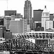 Cincinnati Skyline Black And White Picture Poster by Paul Velgos
