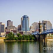 Cincinnati Skyline With Roebling Bridge Poster