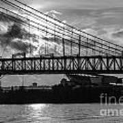 Cincinnati Suspension Bridge Black And White Poster
