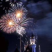 Cinderella Castle Fireworks Iconic Fairy-tale Fortress Fantasyland Poster